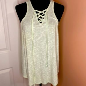 SO: lime green tank w/laced front